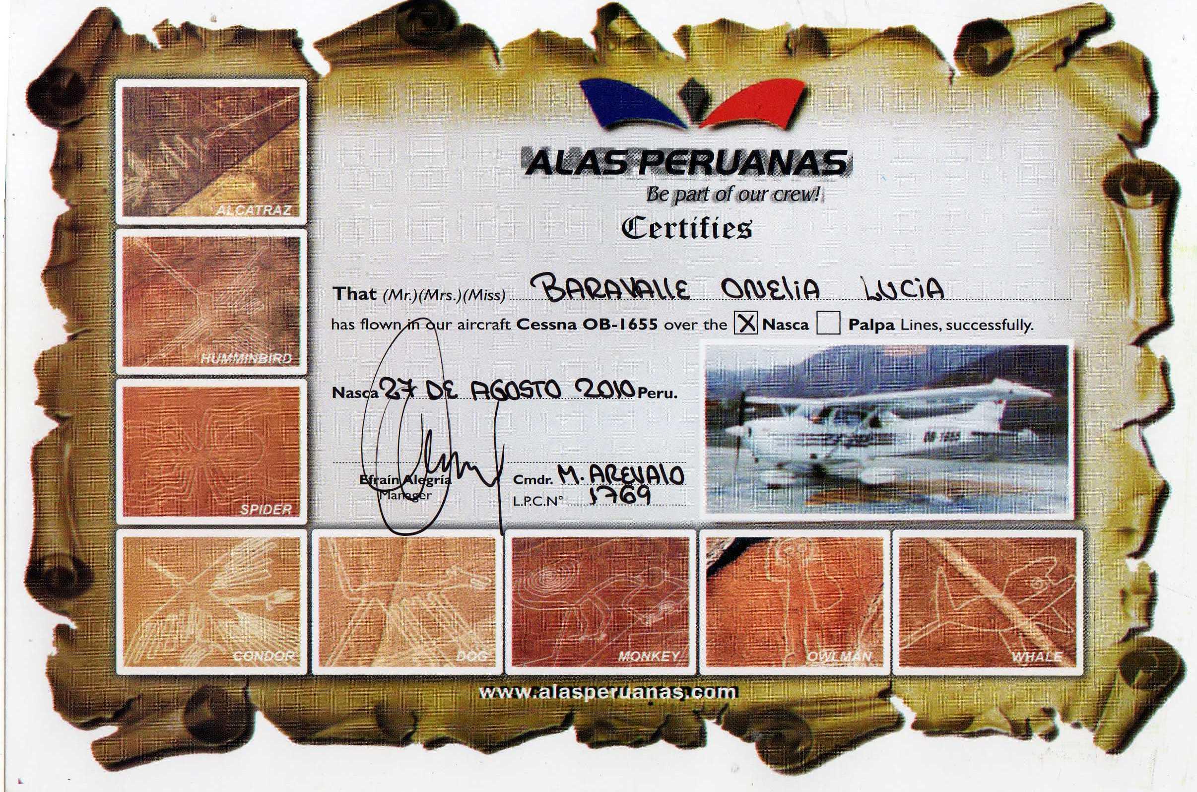 certificado de vuelo sobre las lineas de Nazca
